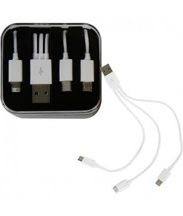 Kombi Ladekabel Datenkabel für Akkuträger und Handy USB C, Micro USB, Lightning