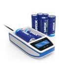 XTAR Over 4 Slim Li-ION Ladegerät und USB Port Lader - weiß