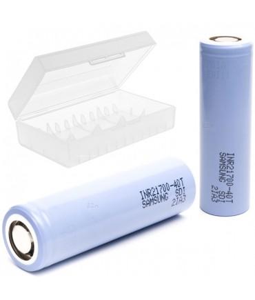 Set of 2samsung INR21700-40T 35A 4000 mAh Li-ION battery plus 1x 20700-21700 battery box