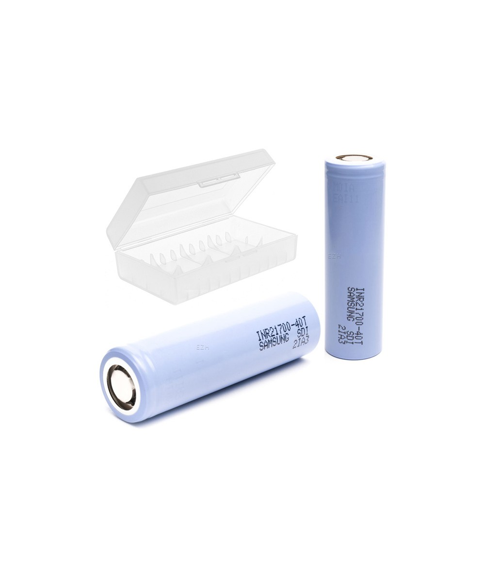 Set 2x SAMSUNG INR21700-40T 35A 4000 mAh Li-ION Akku plus 1x 20700-21700 Akkubox