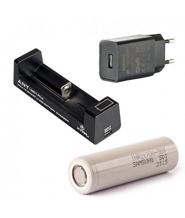 Set XTAR ANT MC1 Plus charger with XTAR power plug and Samsung 21700 Li-Ion batteries 3000 mAh
