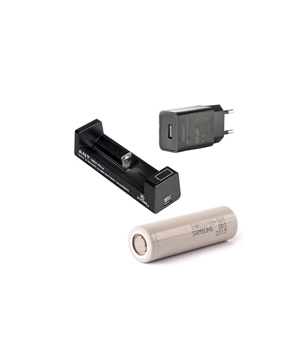 Set XTAR ANT MC1 Plus Ladegerät mit XTAR Netzstecker und Samsung 21700 Li-Ion Akkus 3000 mAh