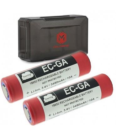 Set of 2x EnerCig NCR18650GA 3450 mAh Li-ION Battery plus 1x COIL MASTER 18650 Battery Box B2