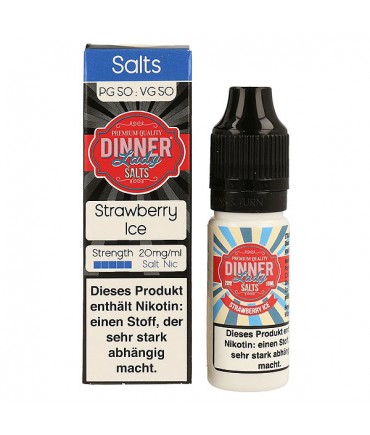Dinner Lady Strawberry Ice Nikotinsalz Premium Liquid 10 ml - NicSalt 20 mg/ml