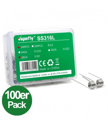 Vapefly SS316L 28GA Prebuild Coil Stainless Steel 100 pieces