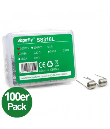 Vapefly SS316L 24GA Prebuild Coil Stainless Steel 100 pieces