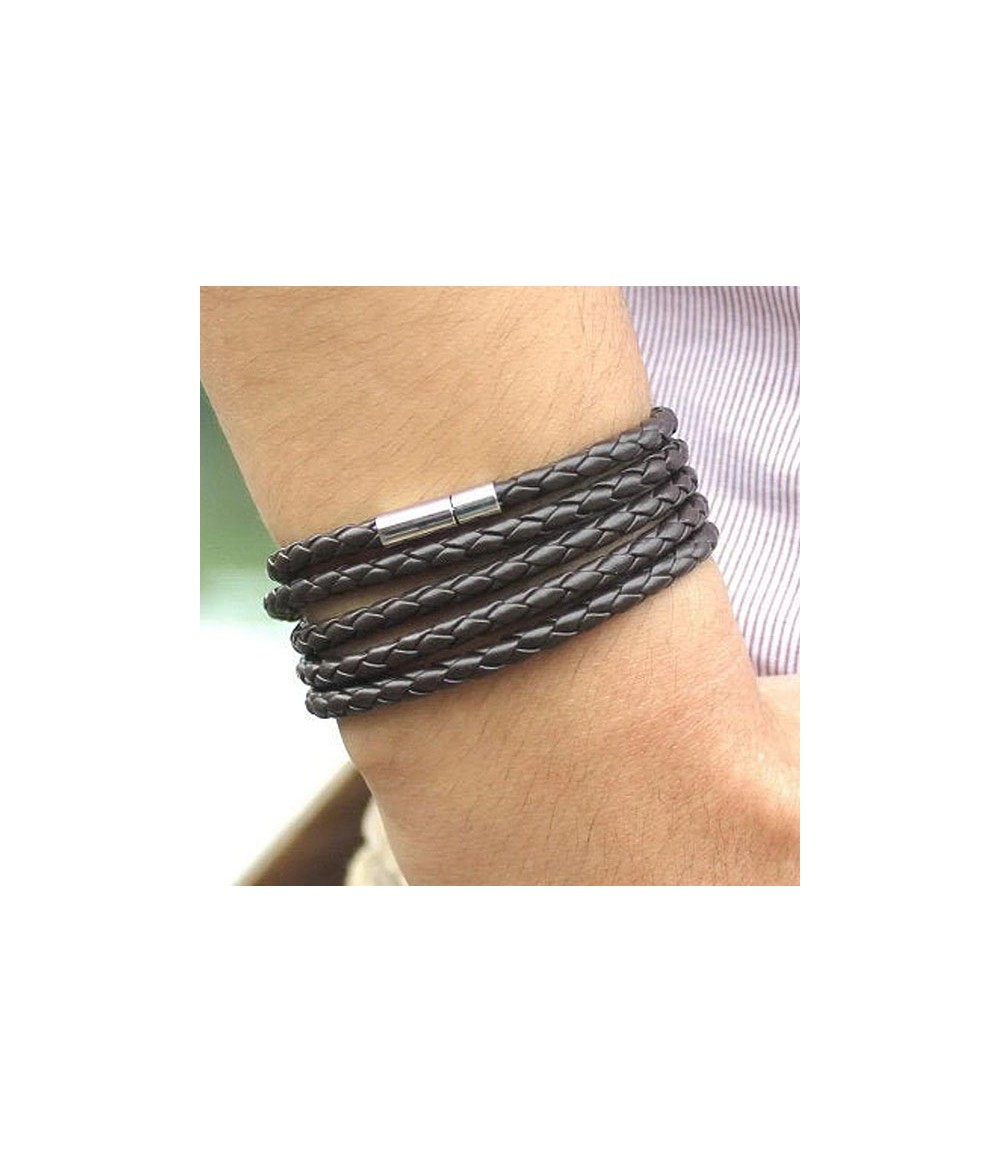 Catch Get It Lifestyle Series wrap bracelet Snake Fox braided brown stainless steel